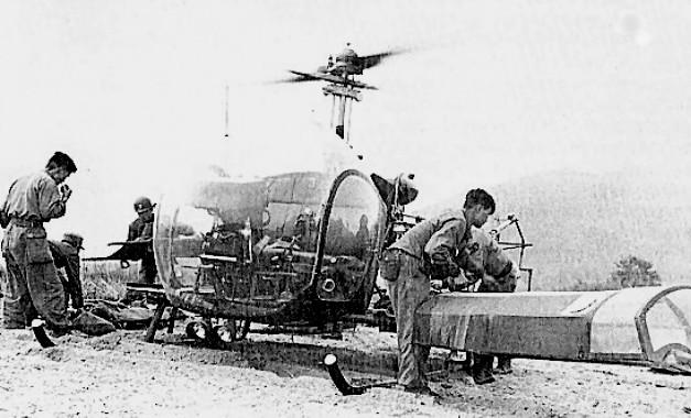 helikopter met flare