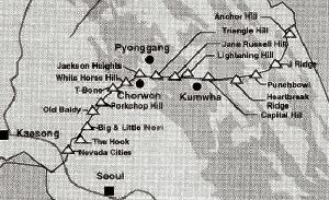 Key hills and outposts on the Main Line of Resistance 1951-53