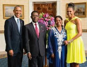 Mbasongo family with Obama